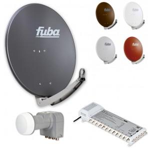 Fuba Digital Sat-Anlage 12 Teilnehmer | Fuba DAA 780 in Wunschfarbe + DEK 407 Quattro LNB + Fuba FMS 512 Multischalter