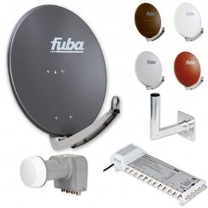 Fuba Digital Sat-Anlage 12 Teilnehmer | Fuba DAA 780 in Wunschfarbe + DEK 407 Quattro LNB + Fuba FMS 512 Multischalter + Winkelwandhalter