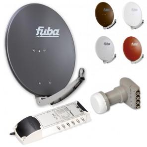 12-Teilnehmer-Sat-Anlage: Fuba DAA 780 in Ihrer Wunschfarbe + Quattro LNB + 5 auf 12 Multischalter