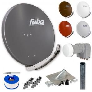Fuba Digital Sat-Anlage 4 Teilnehmer | Fuba DAA 850 + DEK 417 Quad LNB + 100m KKE 740 Brandschutz-Koaxialkabel inkl. F-Stecker + Antennenmast + Montageset