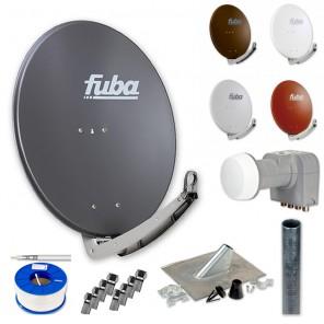 Fuba Digital Sat-Anlage 4 Teilnehmer | Fuba DAA 780 + DEK 417 Quad LNB + 100m KKE 740 Brandschutz-Koaxialkabel inkl. F-Stecker + Antennenmast + Montageset