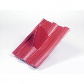 FPR 203 Frankfurter Pfanne Kunststoff Dachziegel rot | Durchführung von Antennenmasten bis 60mm, elastischer Einführungsstutzen, 330 x 400 mm