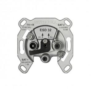 Kathrein ESD 32 3-Loch Sat Einzel-Steckdose | 2x SAT für Twin-Receiver, zwei Eingangs-Leitungen, Enddose