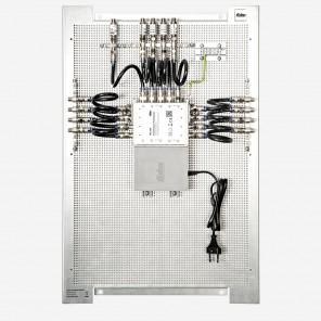 Fuba FMP 508 SL Multischalter-Paneel | Multischalter/Multiswitch 8 Teilnehmer, ein Satellit, komplett vormontiert auf Montageplatte mit Erdung/Potentialausgleich/Überspannungsschutz, EN/VDE-konform, erweiterbar