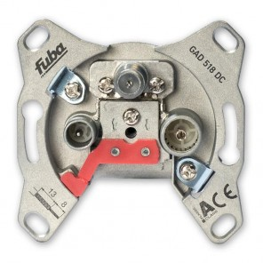 Fuba GAD 518 DC 3-Loch Sat-Durchgangsdose | 18 dB Anschlussdämpfung, DC-Durchlass, Unicable-tauglich