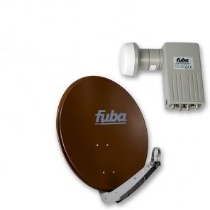 Fuba DAA 650 B + Sharp BS1R8EL400A (SEK 414) Quad-LNB Außeneinheit für vier Teilnehmer, 1 Satellit