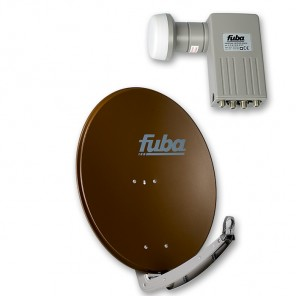 Fuba DAA 780 B + Sharp BS1R8EL400A (SEK 414) Quad-LNB Außeneinheit für vier Teilnehmer, 1 Satellit