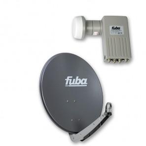 Fuba DAA 650 A + Sharp BS1R8EL400A (SEK 414) Quad-LNB Außeneinheit für vier Teilnehmer, 1 Satellit