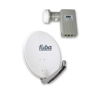 Fuba DAA 650 G + Sharp BS1R8EL400A (SEK 414)  Quad-LNB Außeneinheit für vier Teilnehmer, 1 Satellit