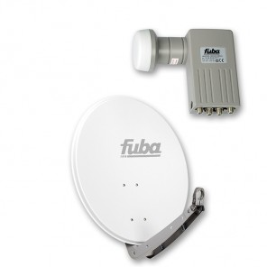 Fuba DAA 650 W + Sharp BS1R8EL400A (SEK 414) Quad-LNB Außeneinheit für vier Teilnehmer, 1 Satellit