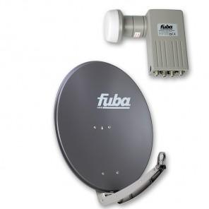 Fuba DAA 780 A + Sharp BS1R8EL400A (SEK 414) Quad-LNB Außeneinheit für vier Teilnehmer, 1 Satellit
