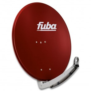 Fuba DAA 780 R Premium Aluminium Sat-Antenne ziegelrot | 74 cm x 84 cm mit stabilem Doppeltragarm