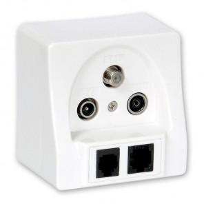 Fuba GAD 320 Multimedia-Steckdose mit 5 Ausgängen