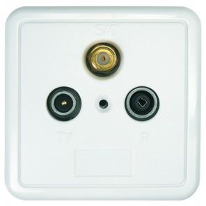 Axing  SSD 2-00 3-Loch-Sat-Einzel-Steckdose