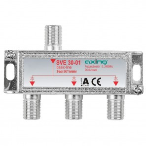 Axing SVE 30-01 SAT-Verteiler 3-fach | 3-fach Splitter, Unicable-tauglich, DC-Durchlass, DC-diodenentkoppelt