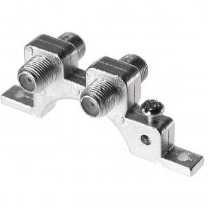 Axing CFA 9-00 Doppel-F-Verbinder für Wandmontage mit Erdklemmen | F-Buchse auf F-Buchse