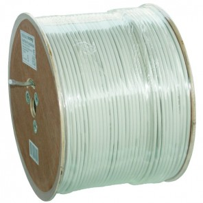 Axing SKB 88-03 Koaxialkabel weiß 500m-Trommel (0,32€/m) weiß 2-fach geschirmt | Koaxkabel, SAT-Kabel, UV-beständig