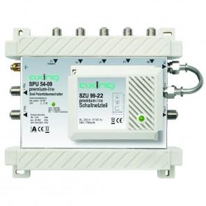 Axing SPU 54-09 premium-line Sat-Multischalter aktiv | 5 in 4, HDTV-, 4K-, 3D-tauglich, Terrestrik passiv