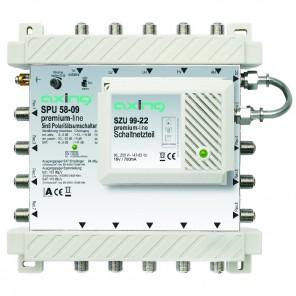 Axing SPU 58-09 premium-line Sat-Multischalter aktiv | 5 in 8, kaskadierbar, HDTV-, 4K-, 3D-tauglich