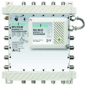 Axing SPU 510-09 premium-line Sat-Multischalter aktiv | 5 in 10, kaskadierbar, HDTV-, 4K-, 3D-tauglich