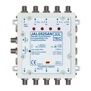 Jultec JAL 0525 AN Kaskadenstartverstärker mit Netzteil und 4x 25dB Verstärkung