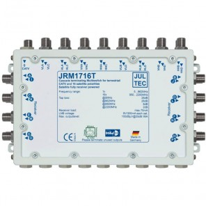 Jultec JRM 1716T Sat-Multischalter 16 Teilnehmer | 4 Satelliten, Endkaskade, DVB-T/T2- und DVB-C/Docsis-Verteilung, stromsparend