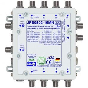 Jultec JPS0502-16MN Einkabelumsetzer a²CSS konfigurierbar | 1 Satellit | bis zu 32 Teilnehmer | kaskadierbar | Netzteil inklusive