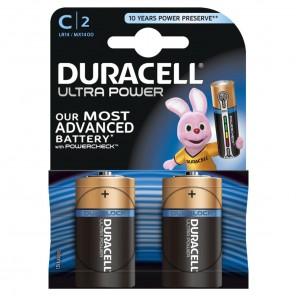 Duracell MN 1400 UltraPower Alkaline Baby C, 2-er Blister, Powercheck
