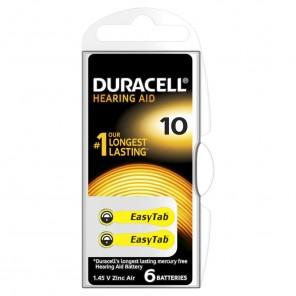 Duracell EasyTab 10 Zinc Air Hörgerätebatterie | 1,45 Volt, PR70, 6er-Blister