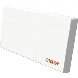 Selfsat H22 DQ+ Quattro Sat Flachantenne für Multischalter | LNB austauschbar, HDTV, 4K, weiß, ein Satellit, 566 x 300 x 78 mm, Multifunktionshalterung
