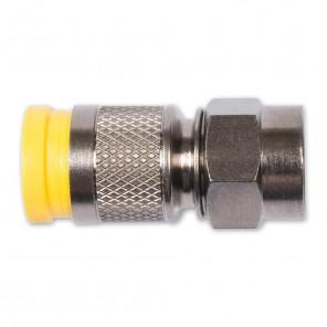 Fuba OVZ 041 F-Stecker mit gelber Kompressionsmanschette für Kabel mit 2,8 mm Dielektrikum