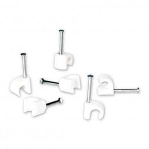 Fuba OKC 725 W Nagelschellen für 7-10 mm Rundkabel mit 25-mm-Stahlnagel in weiß