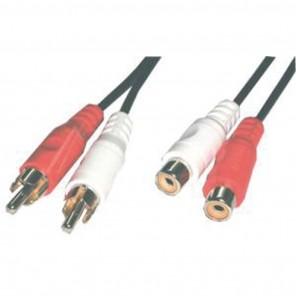 5m Cinch-Verlängerungskabel stereo | 2x Cinch-Stecker auf 2x Cinch-Kupplung, Cinch-Verlängerung 5 Meter, Audio-Verlängerung