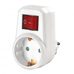 Heitech Schutzkontakt Zwischenstecker mit Schalter 1-fach | 2-polig, weiß, Netzschalter, Kinderschutz