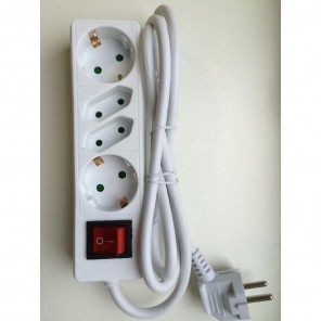 Heitech Steckerleiste mit Schalter 4-fach | weiß, 1,4m, Netzschalter, Kinderschutz