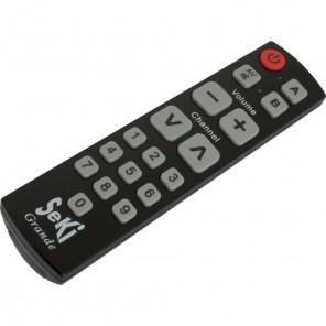 Seki Grande schwarz lernfähige Universal Infrarot Fernbedienung | 18 Tasten, 2 Ebenen, 2 Geräte, für TV-Geräte, Receiver, A/V-Geräte
