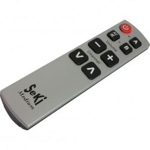 Seki Medium silber/schwarz lernfähige Universal Infrarot Fernbedienung | 8 Tasten, 2 Ebenen, 2 Geräte, für TV-Geräte, Receiver, A/V-Geräte