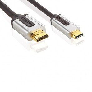 Profigold PROV 1702 (2,00 m) HDMI High Speed with Ethernet zertifiziertes Kabel HDMI-A-Stecker auf HDMI-D-Stecker in 2,00m Länge.