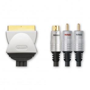 Profigold PGV 532 Videoanschlusskabel Scart-Stecker auf S-VHS-Stecker + 2x Cinch-Stecker vergoldet 1,50 Meter