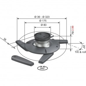 Vogels EPC 6545 Projektor Deckenhalterung | 360° drehbar, 20° neigbar