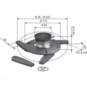 Vogels EPC 6545 Projektor Deckenhalterung 360 Grad drehbar 20 neigbar