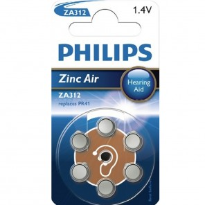 Philips ZA312 Hörgerätebatterie Zinc Air | 1,4V | 160mA | 6 Stück
