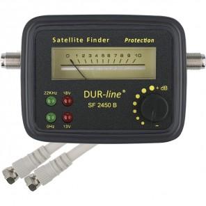 DUR-line SF 2450 B Sat-Finder/-Messgerät schwarz mit LED-Anzeige mit Gummi-Schutzhülle