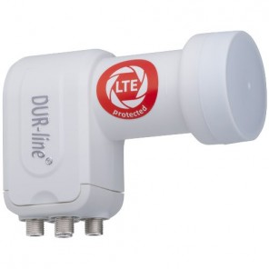 DUR-line +Ultra Premium Quattro LNB weiß | nur für Multischalter, LTE-Filter, FullHD, HDTV, 3D