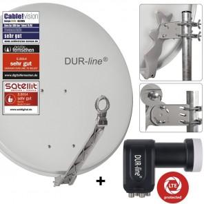 DUR-line 4-Teilnehmer Sat-Anlage | Set bestehend aus DUR-line Select 75/80 hellgrau + DUR-line +Ultra Quad LNB