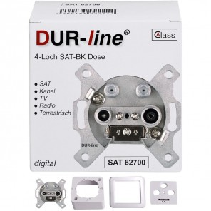 DUR-line SAT/BK Antennendose 4-Loch | Enddose, 2x SAT, AP/UP, Unicable-tauglich, 3dB