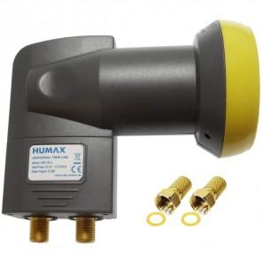 Humax Gold Twin LNB 2 Teilnehmer | Twin Universal LNB, LTE-Filter, inkl. Wetterschutztülle + 2x F-Stecker (HD, Full HD, UHD, 4K)