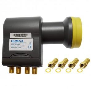 Humax Gold Quattro LNB für Multischalter | Quattro Universal LNB, LTE-Filter, inkl. Wetterschutzgehäuse + 4x F-Stecker (HD, Full HD, UHD, 4K)