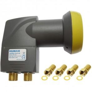 Humax Gold Quad LNB 4 Teilnehmer | Quad Universal LNB, LTE-Filter, inkl. Wetterschutztülle + 4x F-Stecker (HD, Full HD, UHD, 4K)