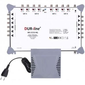 DUR-line MS 17/12 HQ Sat Multischalter 12 Teilnehmer, 4 Satelliten | Digital, HDTV, FullHD, 4K, UHD